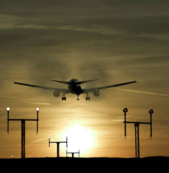 Runway Photograph - Aeroplane Landing by John Mclean/science Photo Library