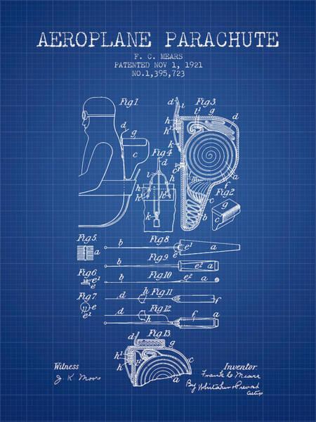 Skydive Wall Art - Digital Art - Aeroplane Parachute Patent From 1921 - Blueprint by Aged Pixel