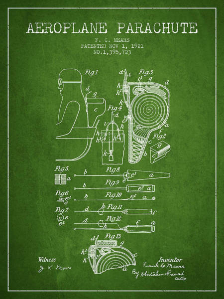 Wall Art - Digital Art - Aeroplane Parachute Patent From 1921 - Green by Aged Pixel