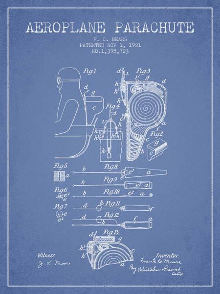 Skydive Wall Art - Digital Art - Aeroplane Parachute Patent From 1921 - Light Blue by Aged Pixel