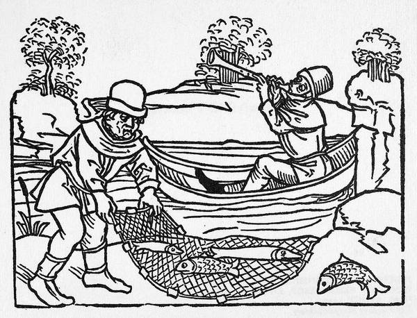 German Renaissance Drawing - Aesop Fishermen, C1477 by Granger