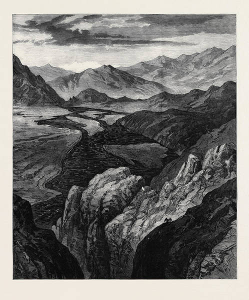 Wall Art - Drawing - Afghanistan The Cabul River Gorge Where It Enters The Plain by English School