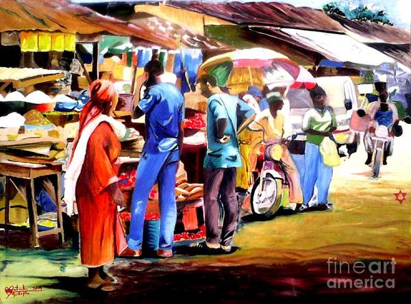 Nigeria Painting - Africa Market Scene by Moscolexy Moscolexy