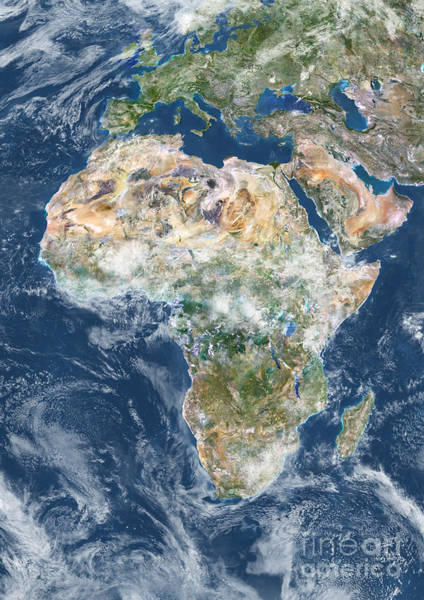 Photograph - Africa With Cloud Coverage by Planet Observer