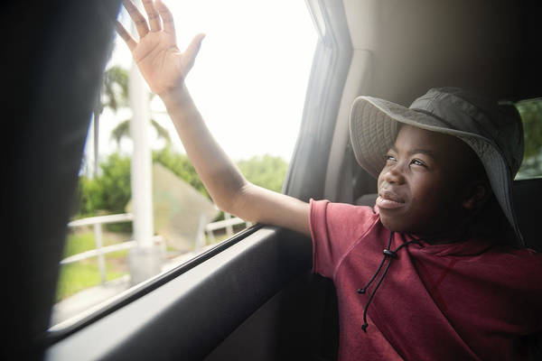 African-american Boy On The Back Seat Of A Car. Art Print by Martinedoucet