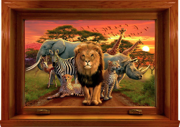 Wall Art - Painting - African Beasts Framed (variant 1).jpg by MGL Meiklejohn Graphics Licensing