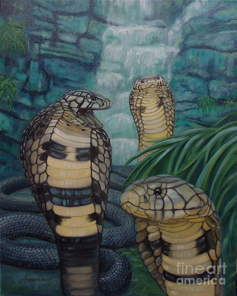 Painting - African Black Forest Cobras by Sherri Anderson