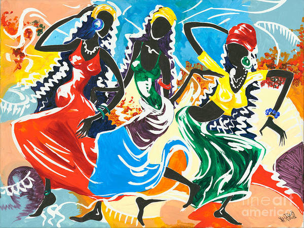 African Dance Painting - African Dancers No. 2 by Elisabeta Hermann