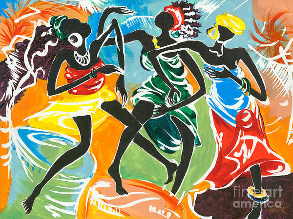 African Dance Painting - African Dancers No. 3 by Elisabeta Hermann