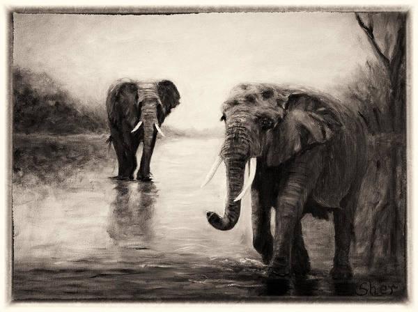 African Elephants At Sunset Art Print