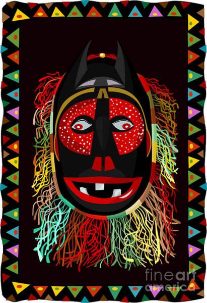 Grotesque Digital Art - African Fringed Mask by Oksana Khorkhordina