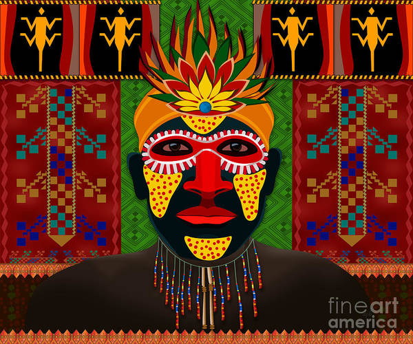 African Tribal Digital Art - African Tribesman 1 by Peter Awax