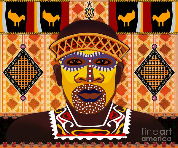 African Tribal Digital Art - African Tribesman 2 by Peter Awax