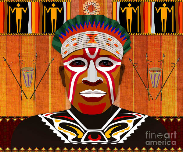 African Tribal Digital Art - African Tribesman 3 by Peter Awax