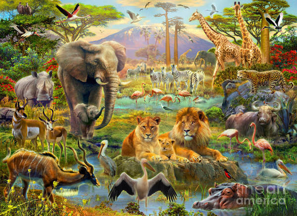 Multi Digital Art - African Watering Hole by MGL Meiklejohn Graphics Licensing
