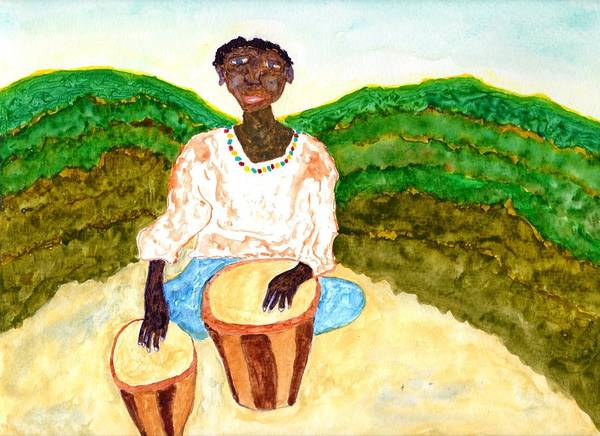 Djembe Wall Art - Painting - Afro Beat by Jim Taylor