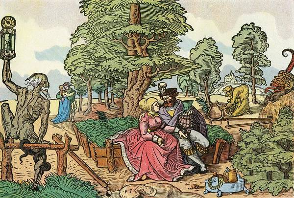 Courtship Photograph - After A 16th Century Woodcut By Peter Flötner Entitled The Hazards Of Love.  Lovers In A Garden by Bridgeman Images