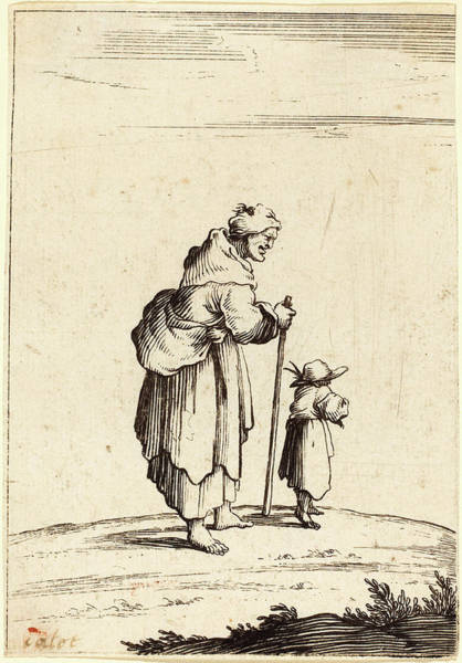 Wall Art - Drawing - After Jacques Callot, Beggar Woman And Child by Quint Lox