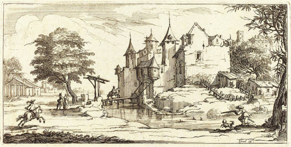 Chateau Drawing - After Jacques Callot, Chateau With A Drawbridge by Litz Collection