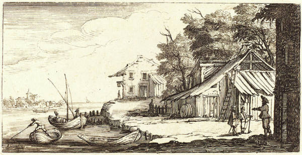 River Bank Drawing - After Jacques Callot, River Bank, 1635 Or by Litz Collection