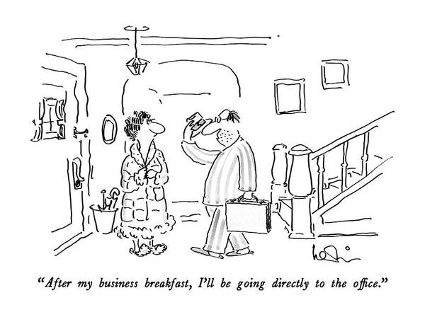 Briefcase Drawing - After My Business Breakfast by Arnie Levin