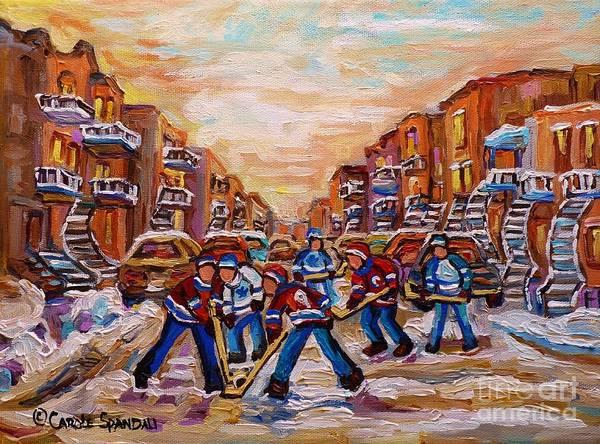 Pointe St Charles Painting - After School Winter Fun Street Hockey Paintings Of Montreal City Scenes Carole Spandau by Carole Spandau