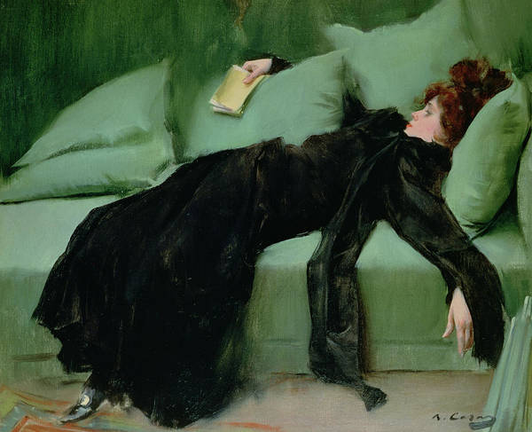 Reclining Wall Art - Painting - After The Ball  by Ramon Casas i Carbo