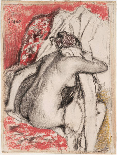 Impressionistic Drawing - After The Bath.seated Woman Drying Herself by Edgar Degas