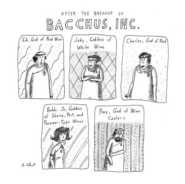 Breakup Drawing - After The Breakup Of Bacchus by Roz Chast