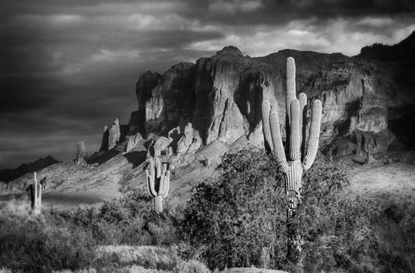 Superstition Mountains Photograph - After The Rain In Black And White  by Saija  Lehtonen