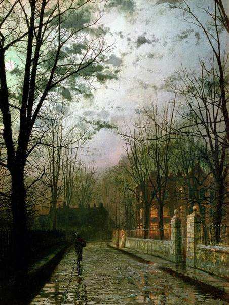 Pavement Wall Art - Painting - After The Shower by John Atkinson Grimshaw