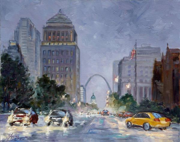 St Louis Arch Painting - After The Storm - Market Street Saint Louis by Irek Szelag
