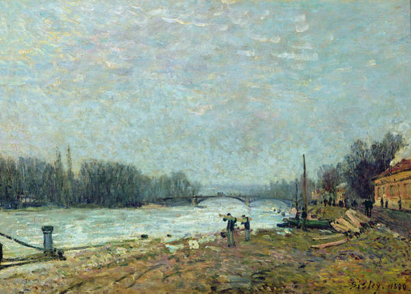 Frost Bank Painting - After The Thaw, The Seine At Suresnes Bridge by Alfred Sisley