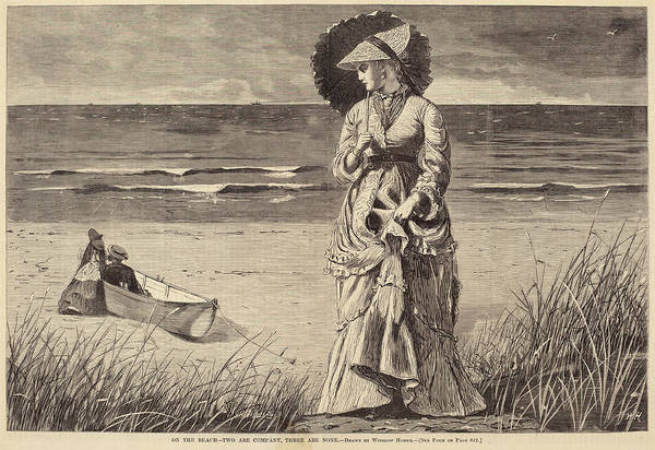 Wall Art - Drawing - After Winslow Homer, On The Beach - Two Are Company by Quint Lox