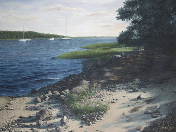 Mooring Painting - Afternoon Dreamland-cape Cod by Julia O'Malley-Keyes