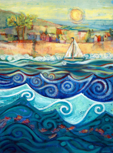 Blue Wave Painting - Afternoon Sail by Jen Norton
