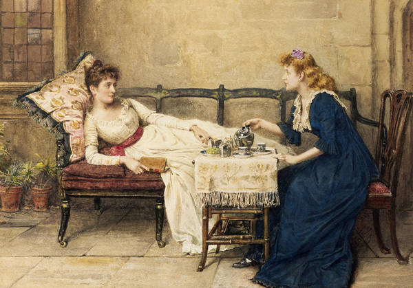 Cushion Wall Art - Painting - Afternoon Tea by George Goodwin Kilburne