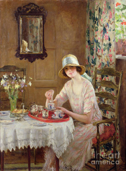 Wall Art - Painting - Afternoon Tea by William Henry Margetson