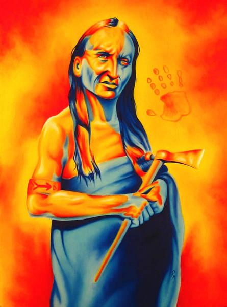 Native American Blanket Painting - Again? by Robert Martinez