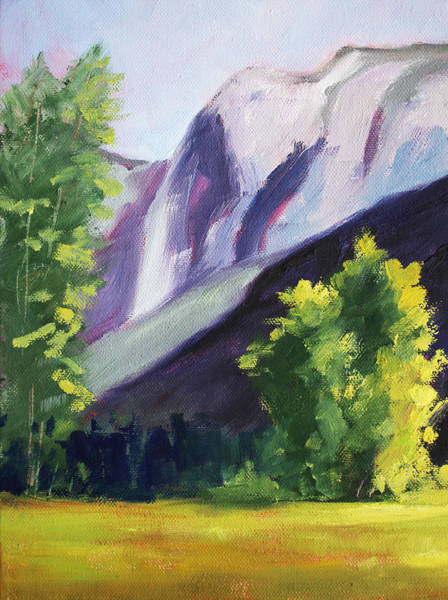 Fresh Paint Painting - Against The Mountain Landscape Oil Painting by Nancy Merkle