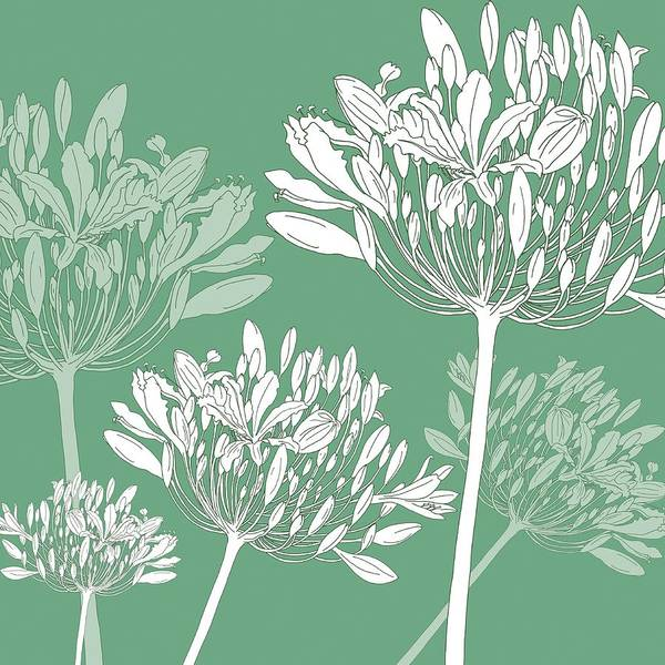 Flower Pattern Painting - Agapanthus Breeze by Sarah Hough