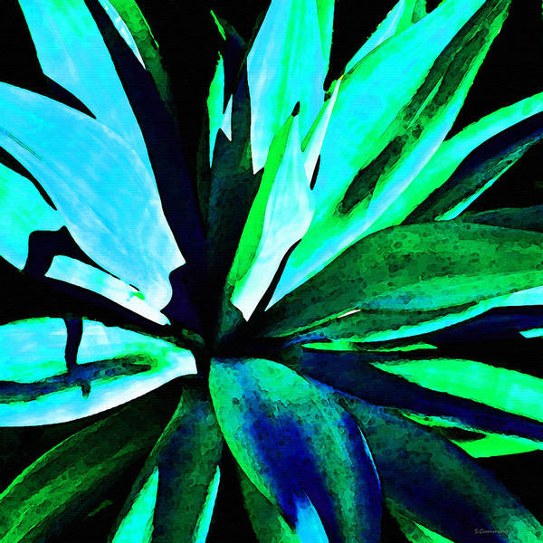Agave Painting - Agave - High Contrast Art By Sharon Cummings by Sharon Cummings