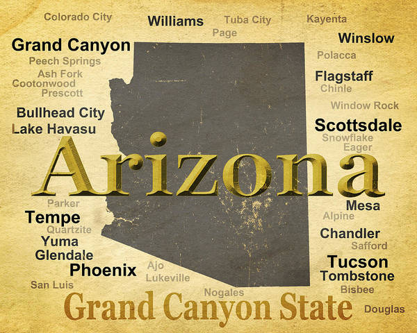 Tombstone Arizona Photograph - Aged Arizona State Pride Map Silhouette  by Keith Webber Jr