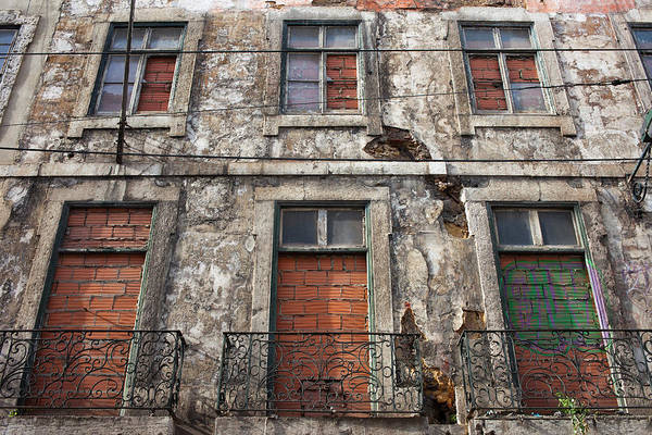 Tenement Photograph - Aged Building Brick Covered Windows by Artur Bogacki