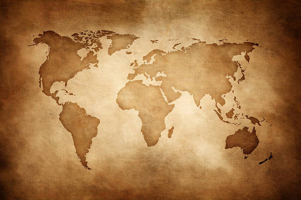Aged Style World Map, Paper Texture Background Art Print by Sankai