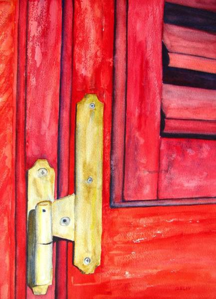Window Frame Painting - Aged Window Shutter Hinge by Carlin Blahnik CarlinArtWatercolor