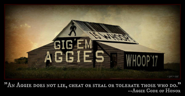 Wall Art - Photograph - Aggie Barn - Aggie Code Of Honor by Stephen Stookey