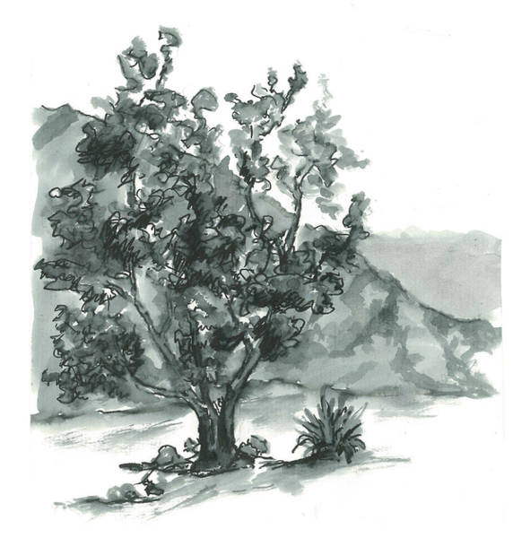Lone Tree Painting - Aging With Grace by Maria Hunt