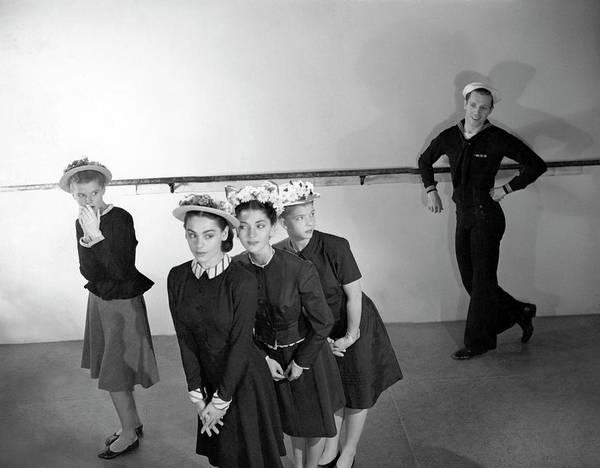 1945 Photograph - Agnes De Mille's Young Dancers Modeling Suits by Horst P. Horst