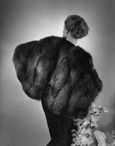 Monochrome Photograph - Agneta Fischer Wearing A Augustabernard Cape by Horst P. Horst